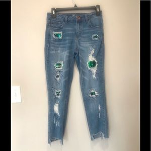 Almost Famous Jeans with Sequin Detail.  Size 3